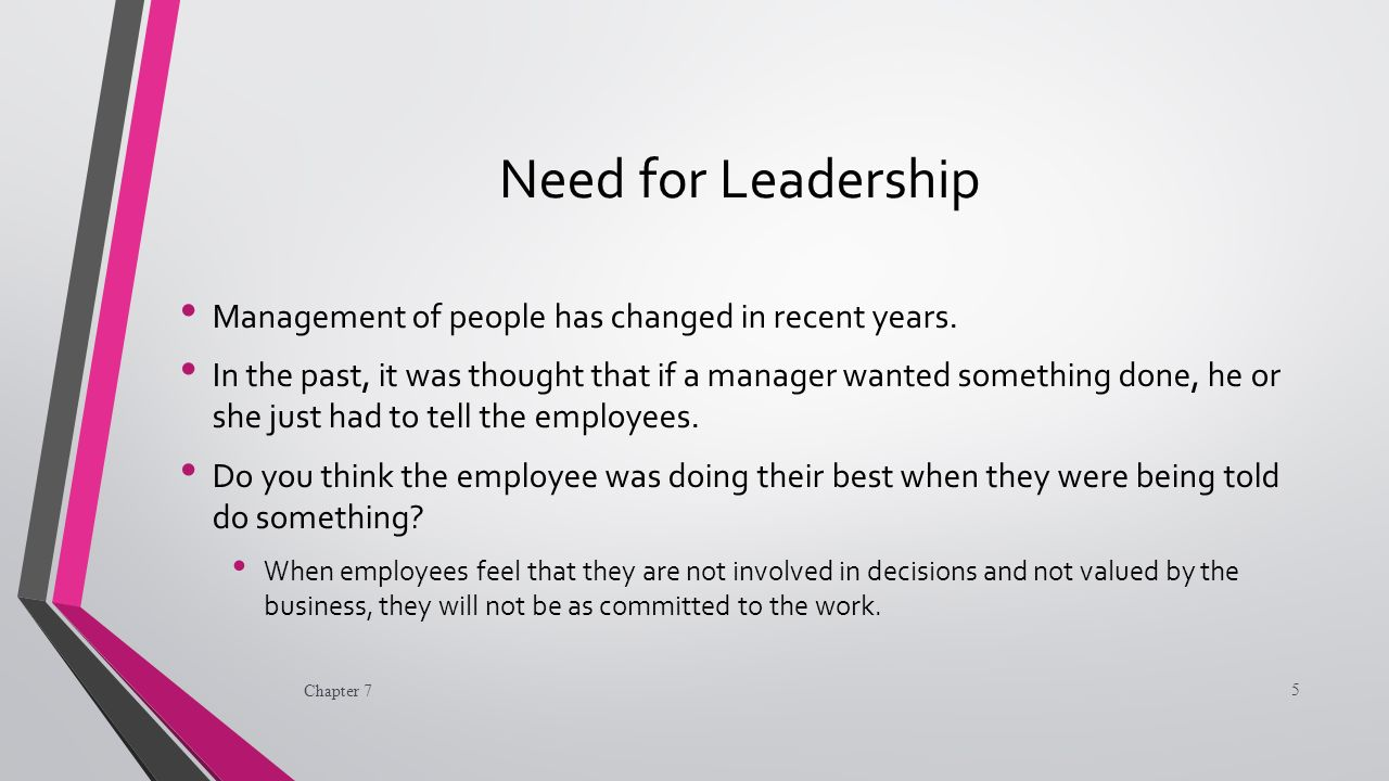 Need for Leadership Management of people has changed in recent years.