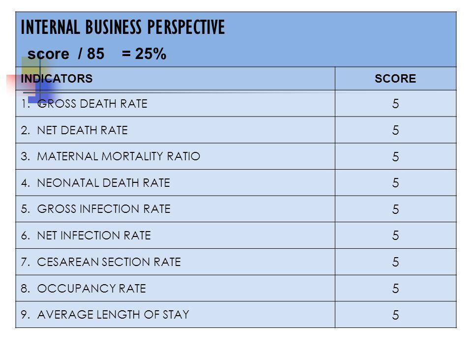 INTERNAL BUSINESS PERSPECTIVE score / 85 = 25% INDICATORSSCORE 1.
