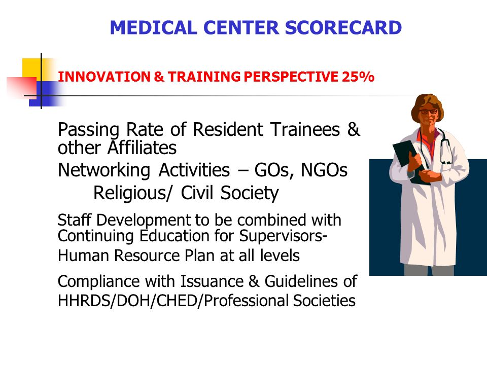 MEDICAL CENTER SCORECARD INNOVATION & TRAINING PERSPECTIVE 25% Passing Rate of Resident Trainees & other Affiliates Networking Activities – GOs, NGOs Religious/ Civil Society Staff Development to be combined with Continuing Education for Supervisors- Human Resource Plan at all levels Compliance with Issuance & Guidelines of HHRDS/DOH/CHED/Professional Societies