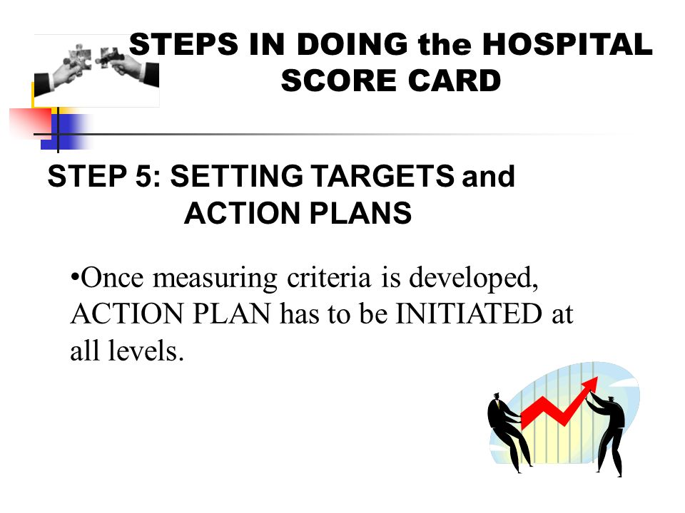STEPS IN DOING the HOSPITAL SCORE CARD STEP 5: SETTING TARGETS and ACTION PLANS Once measuring criteria is developed, ACTION PLAN has to be INITIATED at all levels.