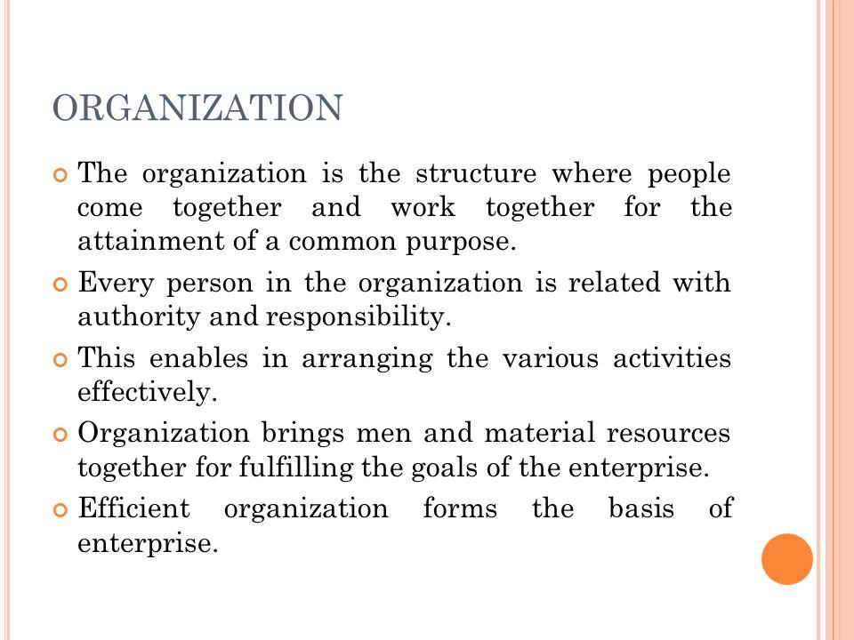 I MPORTANCE OF ORGANIZATION 1.