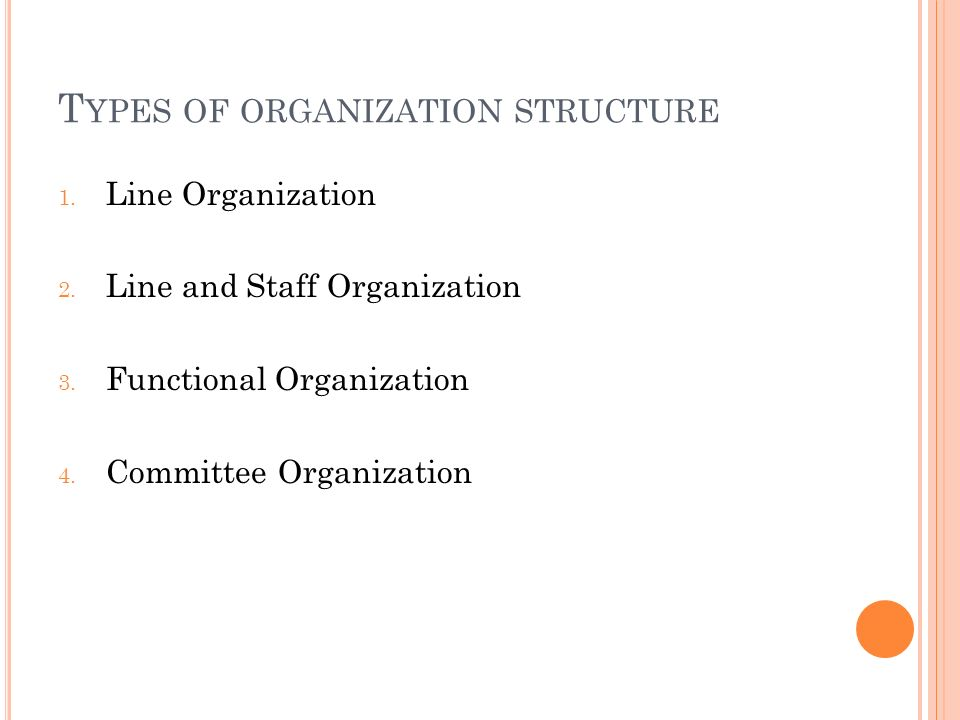 T YPES OF ORGANIZATION STRUCTURE 1. Line Organization 2.