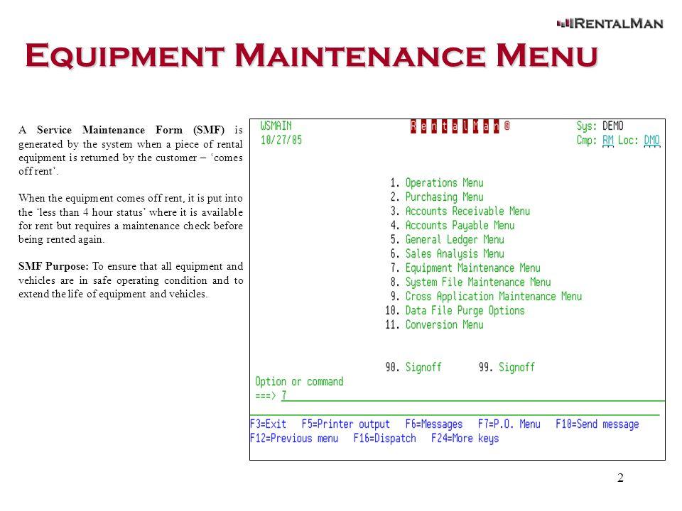 1 Equipment Maintenance Service Maintenance Form. - ppt download