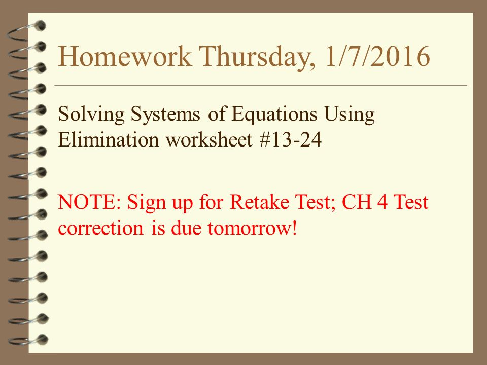 WarmUp 38Tuesday 15 Find the breakeven point for 4x y 6 – Solving Systems of Equations Using Elimination Worksheet