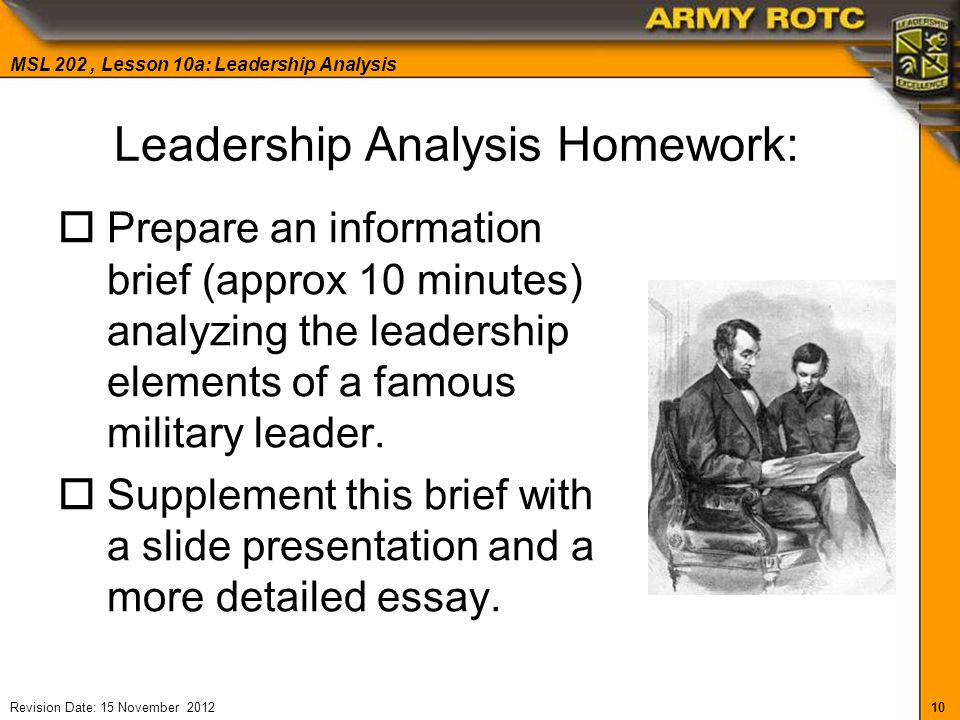 military leadership essay It was the fault of the senior leadership, whether military or civilian or both we weren't just not winning, we weren't even changing direction.