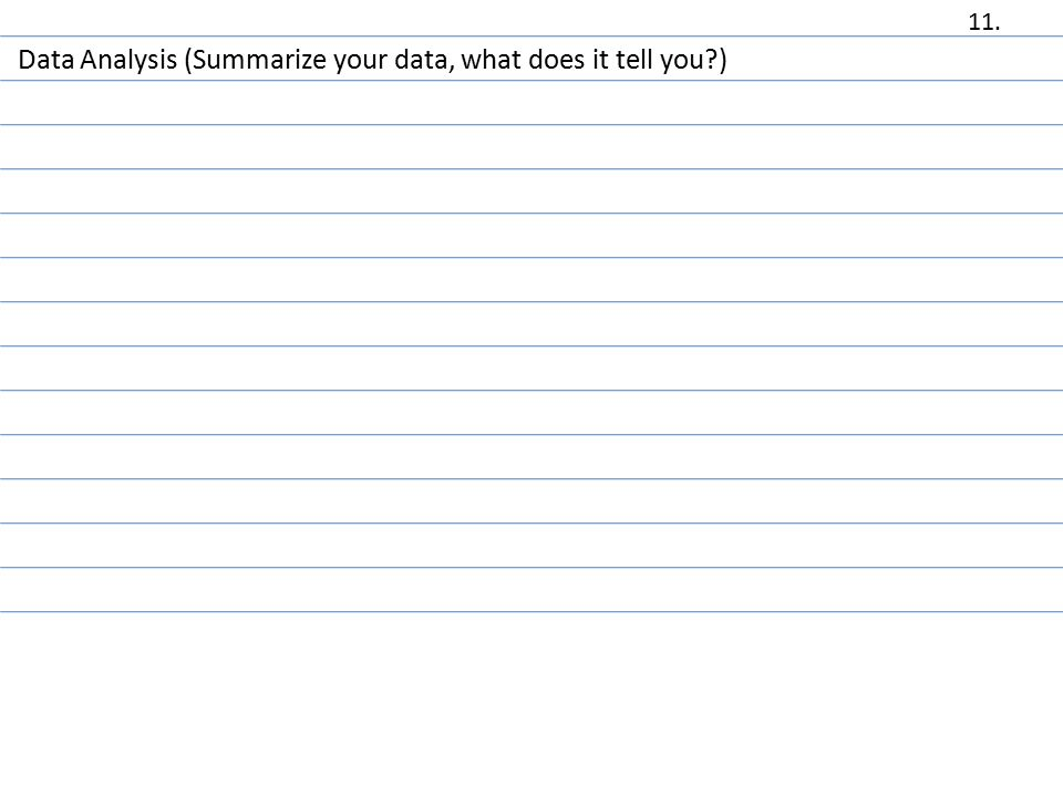 Data Analysis (Summarize your data, what does it tell you ) 11.