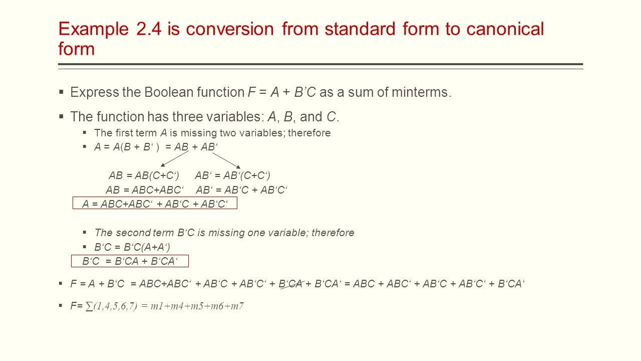 Ece digital logic lecture 8 boolean functions assistant prof example 24 is conversion from standard form to canonical form express the boolean function f falaconquin