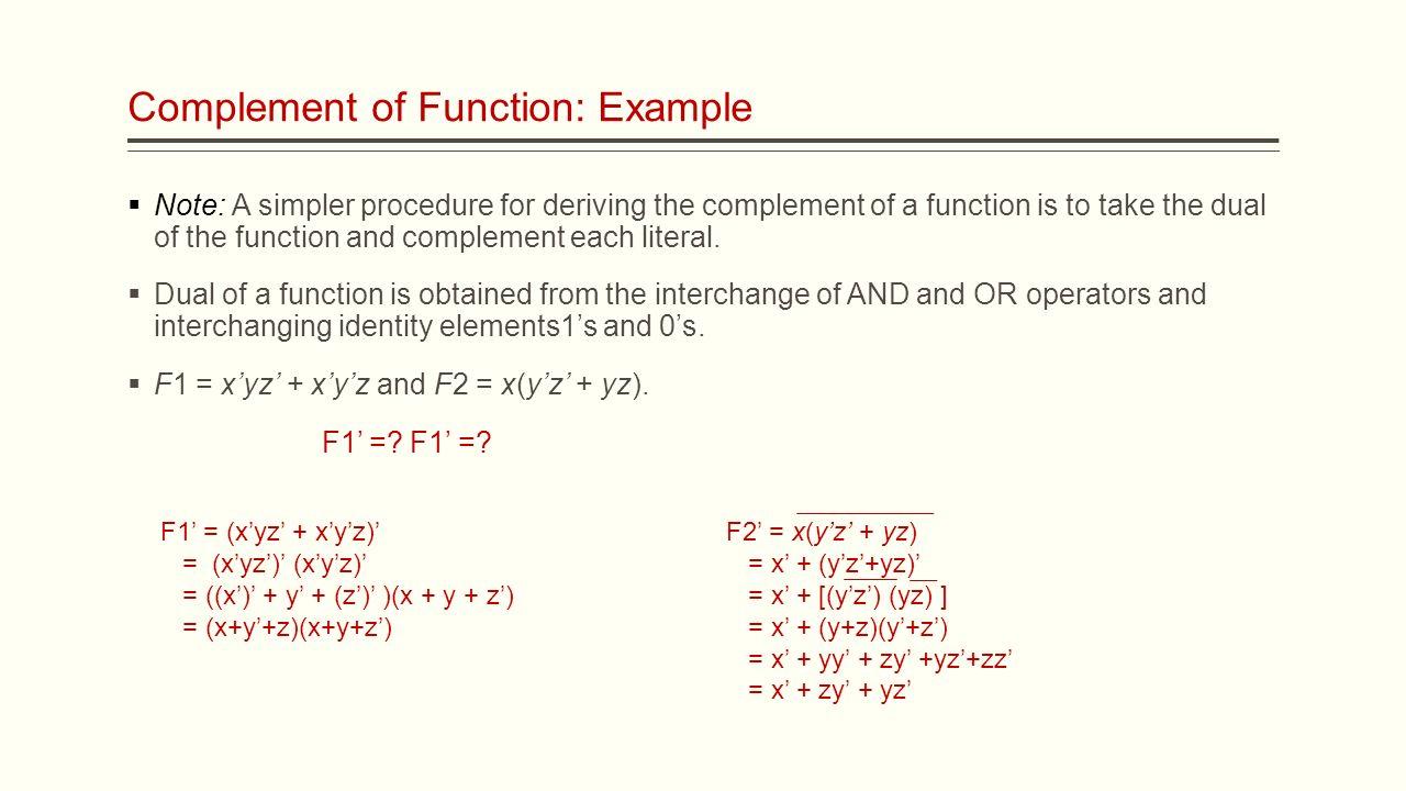 Ece digital logic lecture 8 boolean functions assistant prof 6 complement falaconquin
