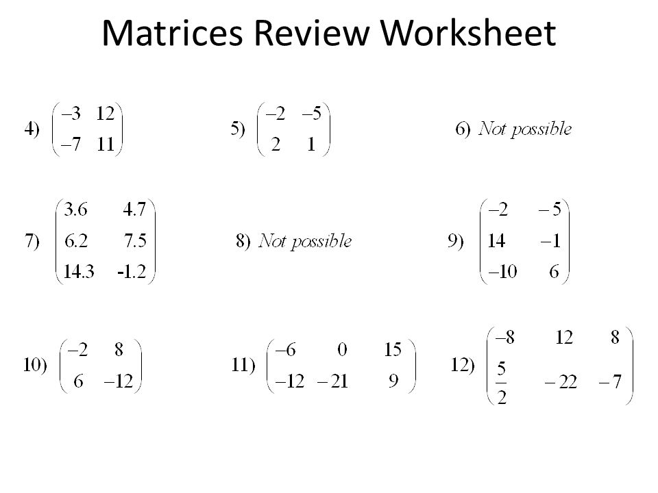 4-2 Practice: Operations with Matrices Worksheet for 9th - 12th ...