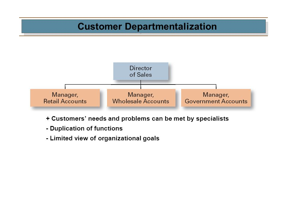 Customer Departmentalization + Customers' needs and problems can be met by specialists - Duplication of functions - Limited view of organizational goa