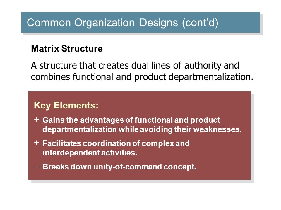 Common Organization Designs (cont'd) Key Elements: + Gains the advantages of functional and product departmentalization while avoiding their weaknesse