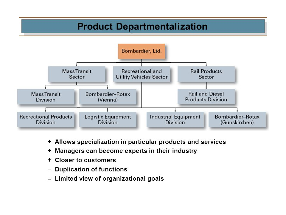 Product Departmentalization +Allows specialization in particular products and services +Managers can become experts in their industry +Closer to custo