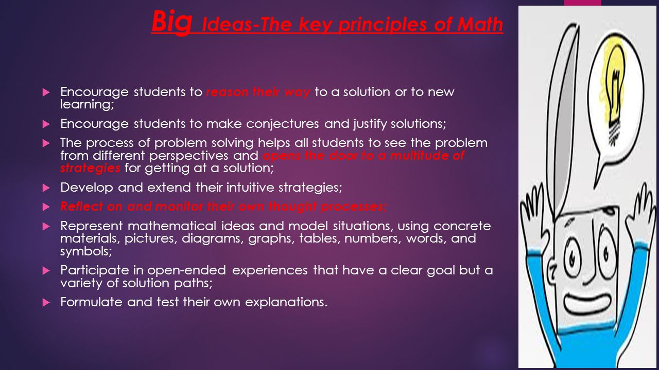 Big Ideas-The key principles of Math  Encourage students to reason their way to a solution or to new learning;  Encourage students to make conjectures and justify solutions;  The process of problem solving helps all students to see the problem from different perspectives and opens the door to a multitude of strategies for getting at a solution;  Develop and extend their intuitive strategies;  Reflect on and monitor their own thought processes;  Represent mathematical ideas and model situations, using concrete materials, pictures, diagrams, graphs, tables, numbers, words, and symbols;  Participate in open-ended experiences that have a clear goal but a variety of solution paths;  Formulate and test their own explanations.