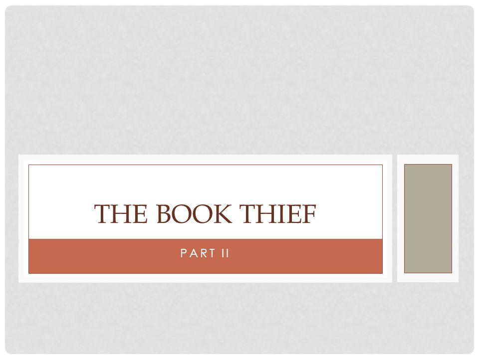 PART II THE BOOK THIEF