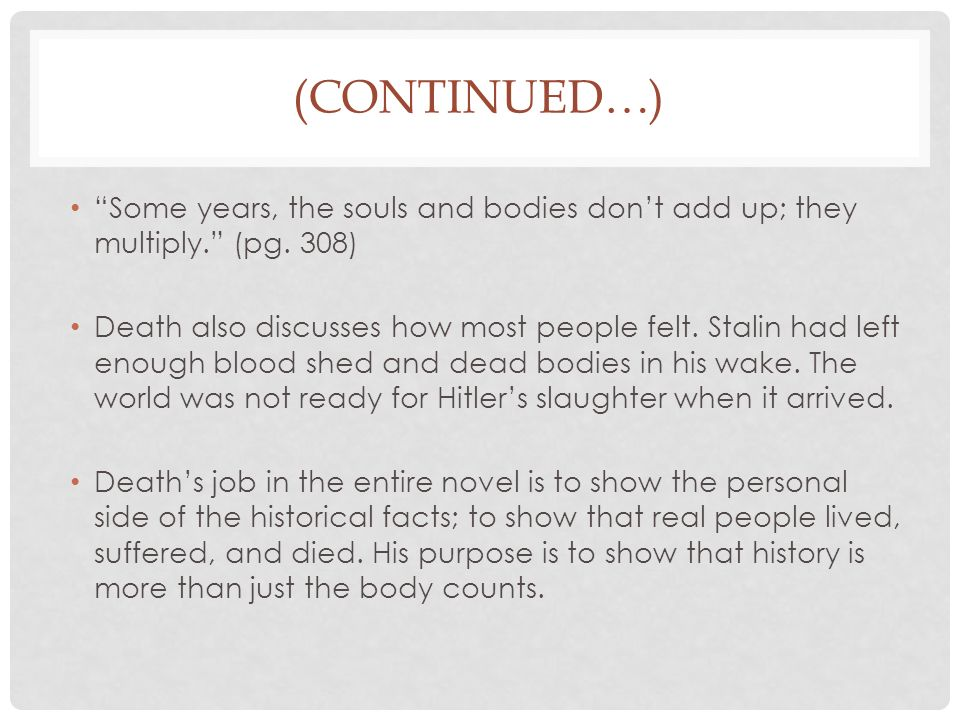 (CONTINUED…) Some years, the souls and bodies don't add up; they multiply. (pg.