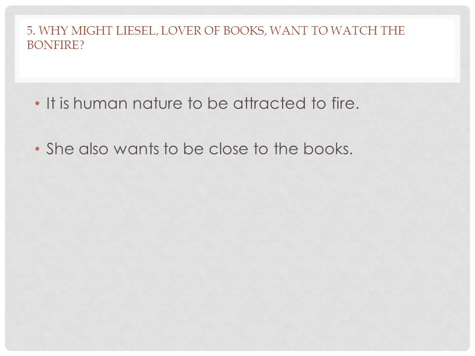 5.WHY MIGHT LIESEL, LOVER OF BOOKS, WANT TO WATCH THE BONFIRE.