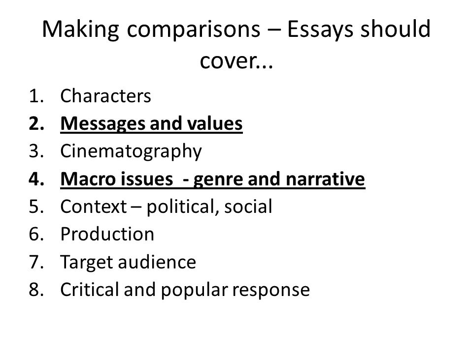 essay workshop objective explore techniques to answer essay  making comparisons essays should cover