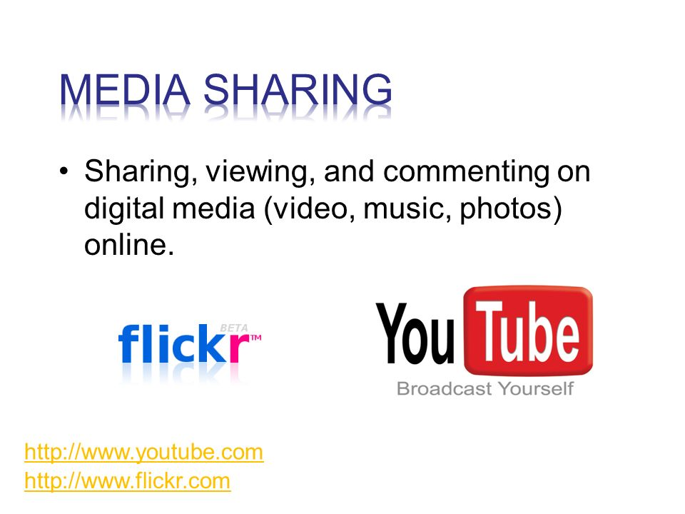 Sharing, viewing, and commenting on digital media (video, music, photos) online.