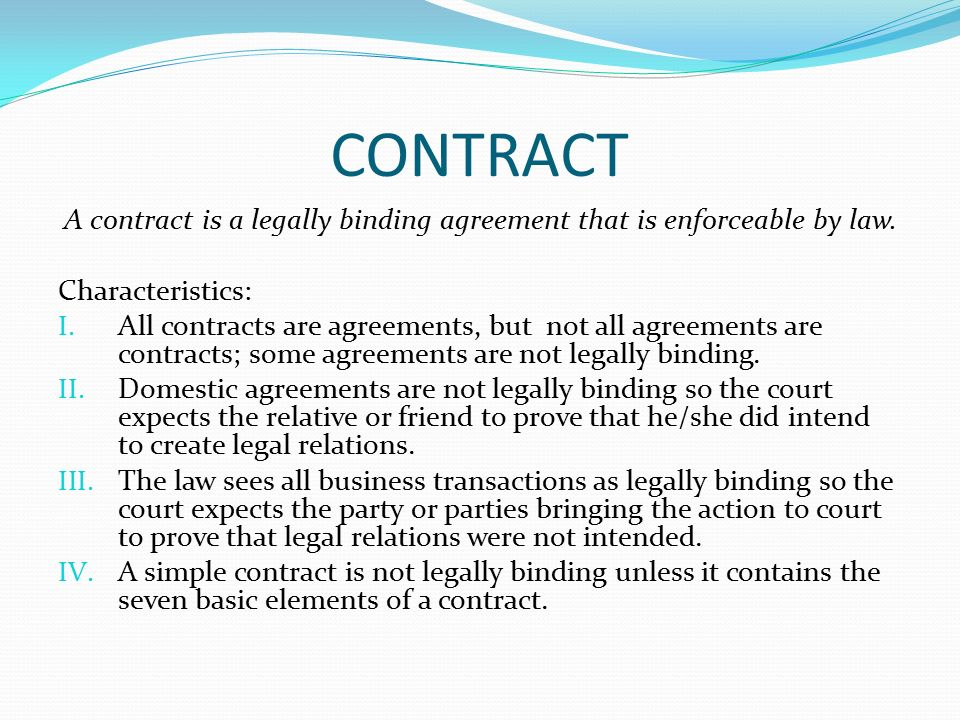 Legal Aspects Of Business Contracts Objectives I Define A Simple