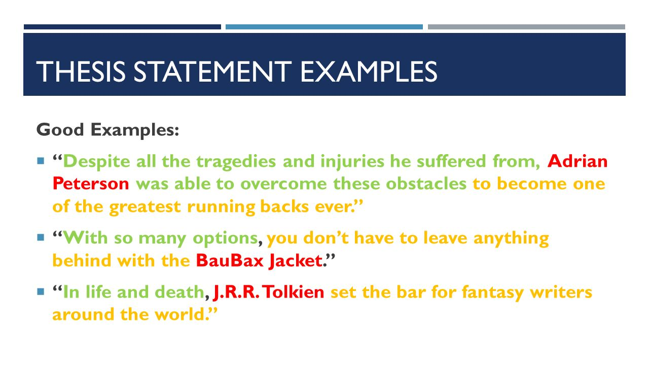 Good Example Thesis Statements