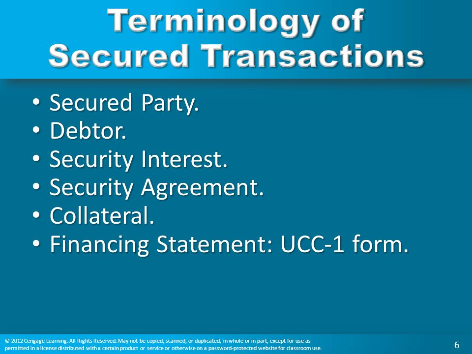 What is a security interest? Who is a secured party? What is a ...