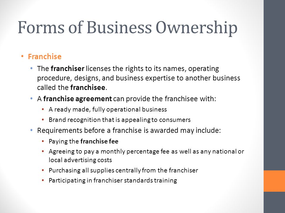 Unit  Introduction To Business  Forms Of Business Ownership