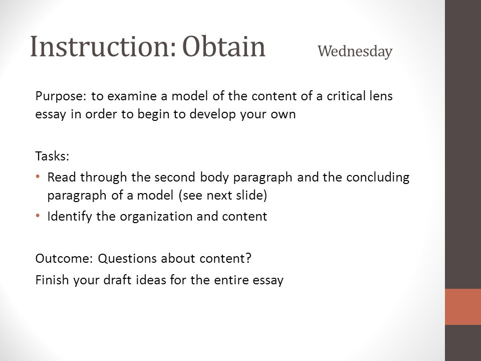 critical lens 11th grade english In 11th grade you will take the english regents exam (a really important test) 70% of your grade is based off of four essays the critical lens is, perhaps, the most difficult of the four essays this essay is very similar to an essay format they give on the sat.