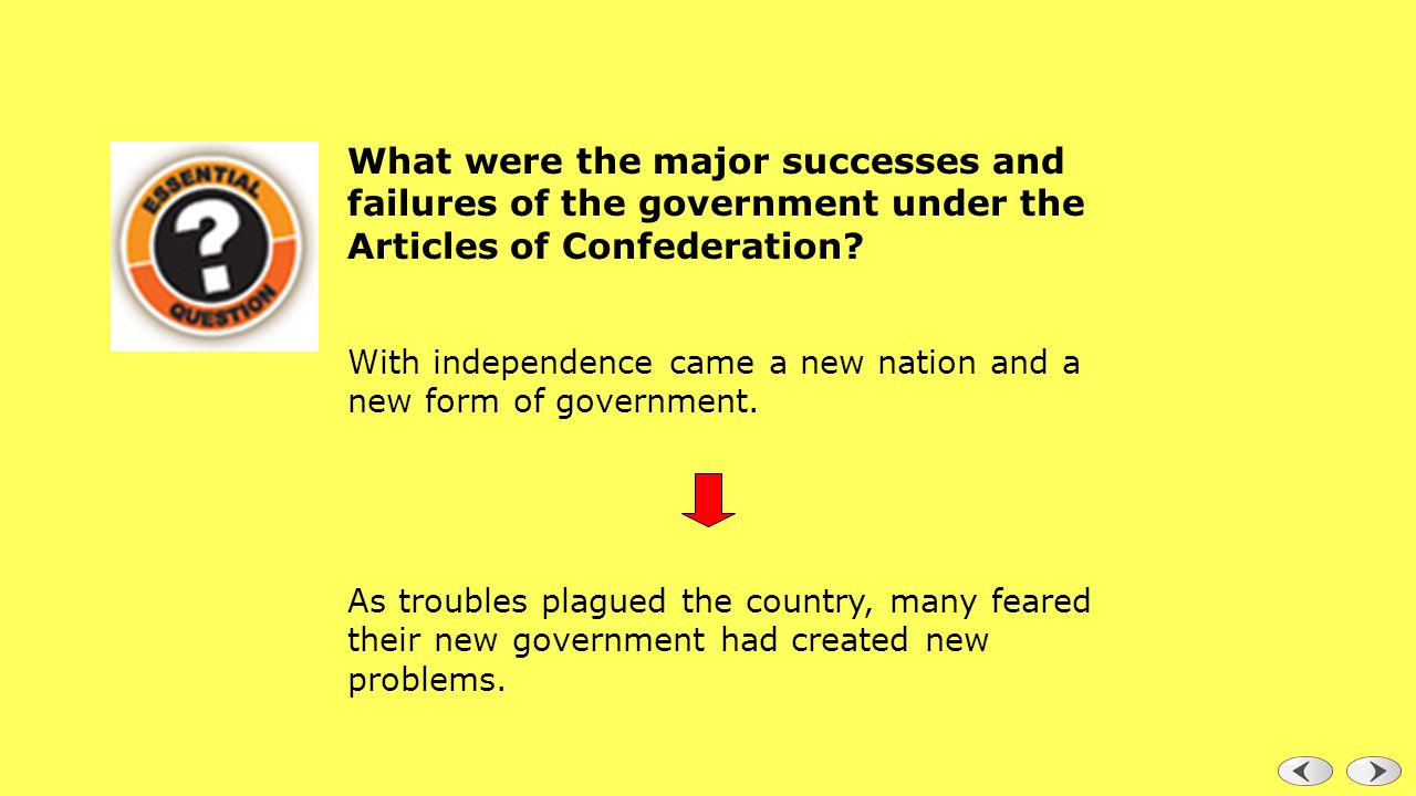 What were the major achievements and failures of the national government under the Articles of Confederation?
