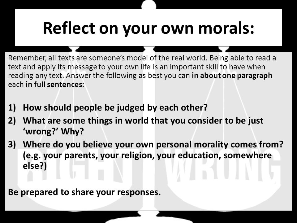 a question of own morality In my religion (christian ethics) class, our final paper is an assignment for us to create our own moral philosophy we must base it off of three of the 10 sources of moral guidance our teacher provided to us (such as egoism, hedonism, duty, authority, culture, consequences, science, religion, gender, and virtue).