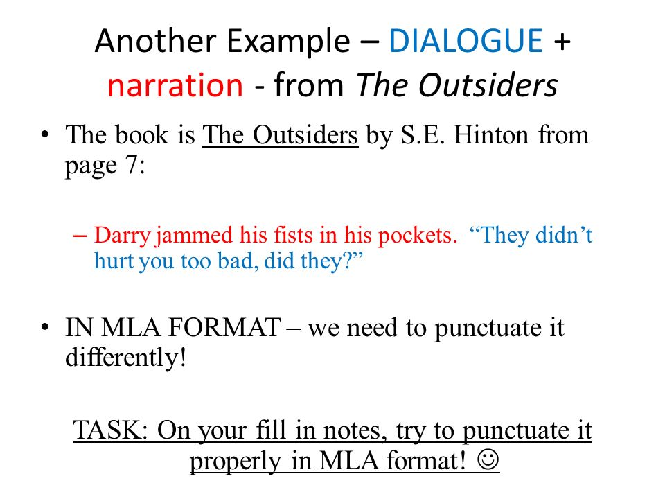 Narrative dialogue essay example