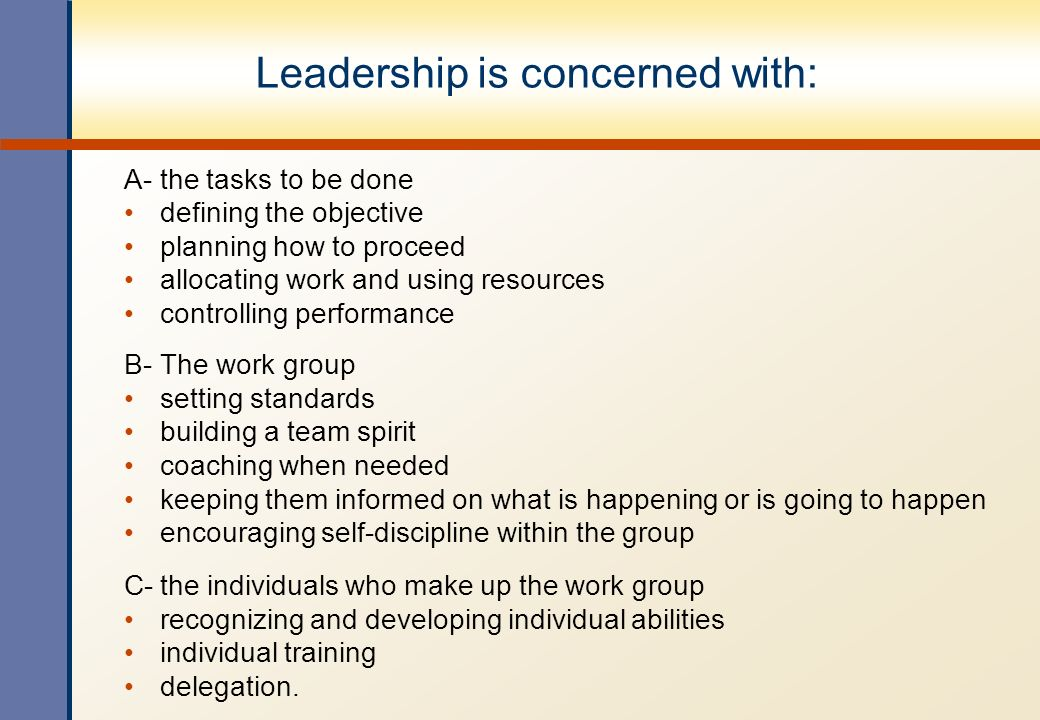 Leadership is concerned with: A- the tasks to be done defining the objective planning how to proceed allocating work and using resources controlling p