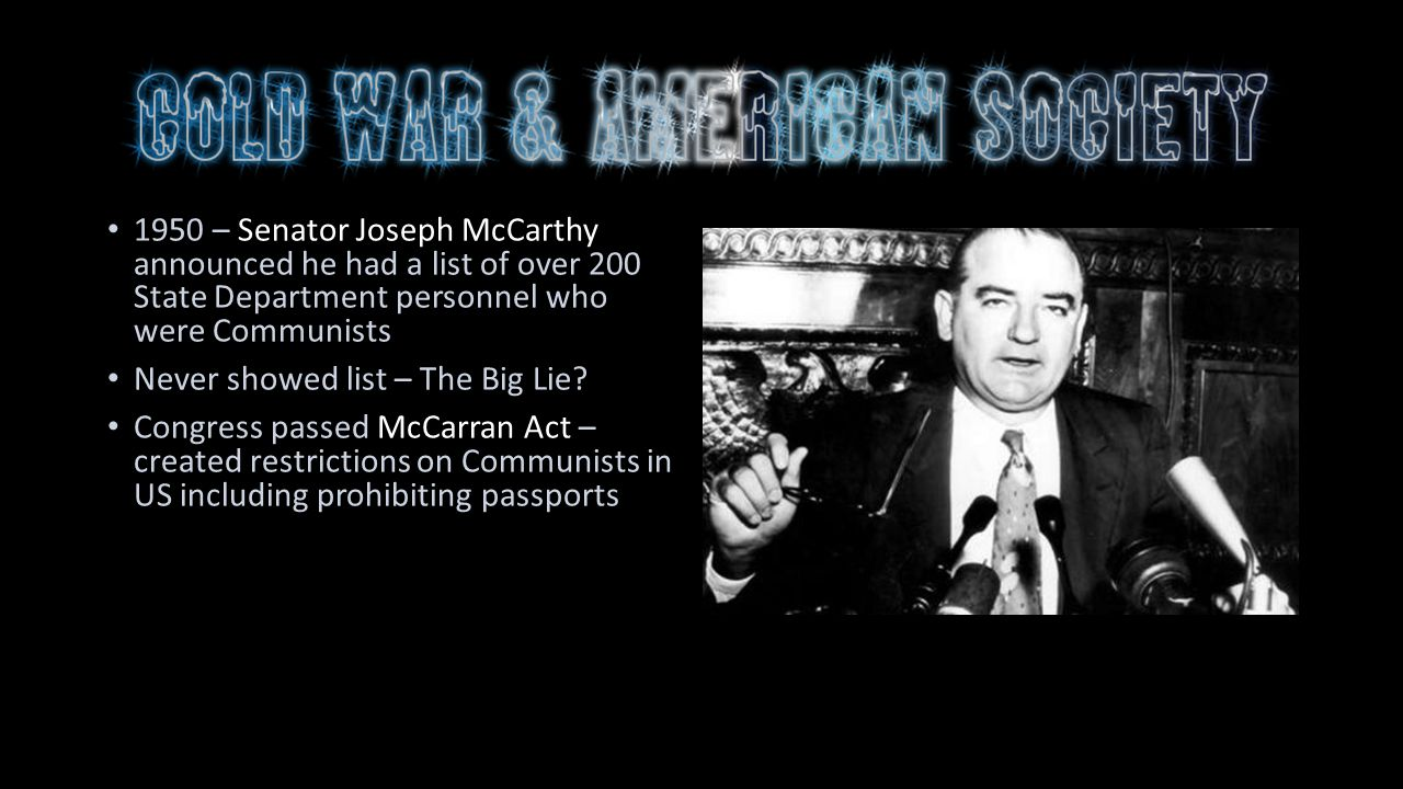 a report on the senator joe mccarthy Much of this info comes from m stanton evans painstakingly documented 600 page book: the untold story of senator joe mccarthy and his.