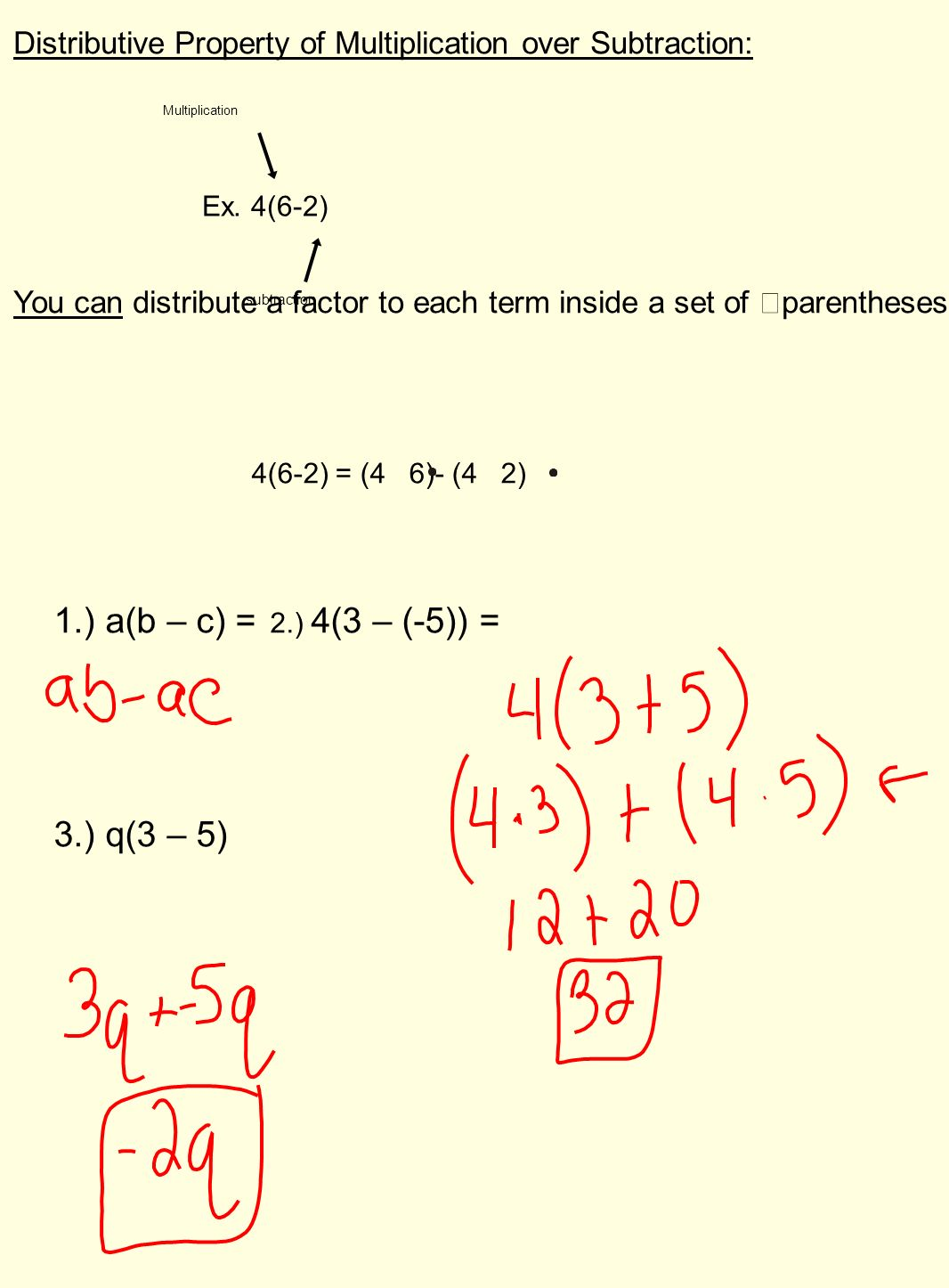 Distributive Property of Multiplication over Addition and Subtraction