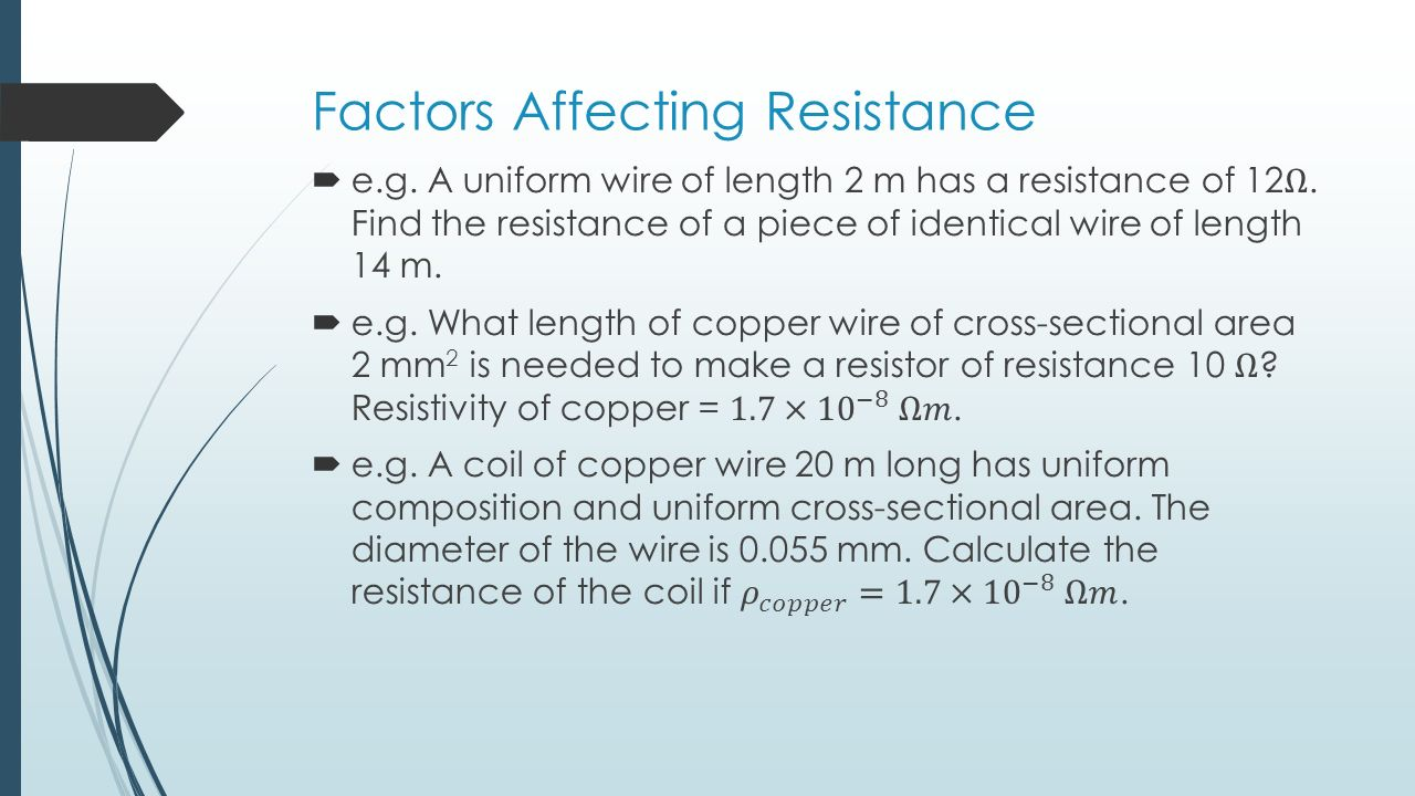 factors affecting the resistance of wire
