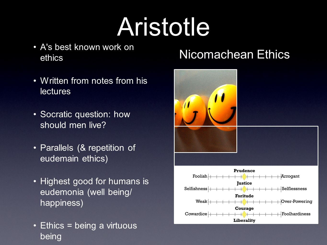 aristotles essay ethics good happy highest life nicomachean Aristotle's goal in nicomachean ethics, book i, is to argue that since there cannot be an infinite number, of merely extrinsic goods, there must be a highest good, to which all human activity ultimately aims (aristotle 1) every human activity aims at some end, whether it is an activity or a.