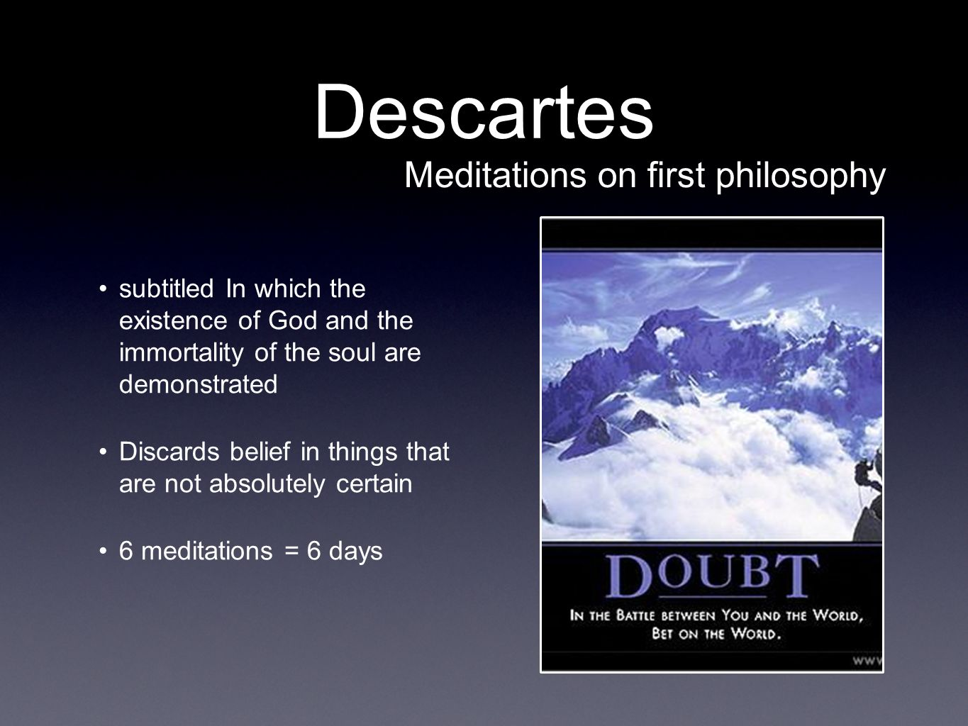 the existence of god and descartes argument of doubt