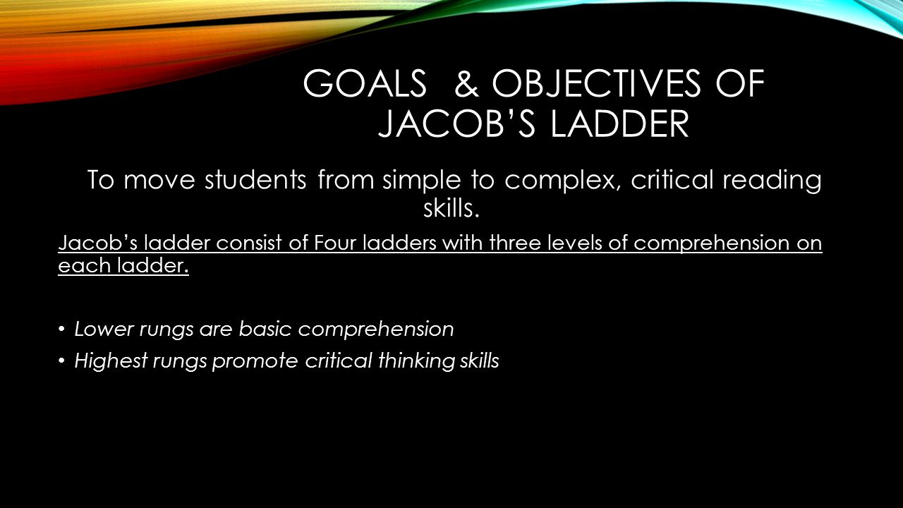 Worksheet Reading Comprehension Program jacobs ladder reading comprehension program north fork elementary goals objectives of to move students from simple complex critical reading