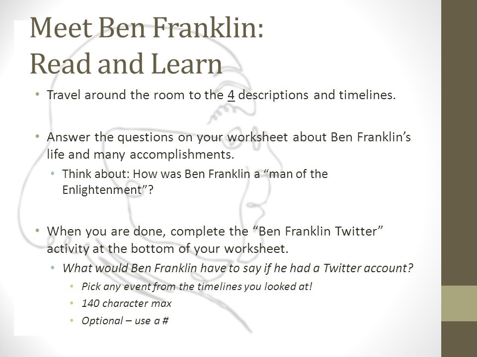 Ben Franklin The Enlightenment What is the Enlightenment – Enlightenment Worksheet