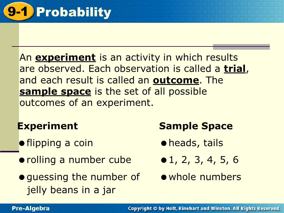 Pre-Algebra 9-1 Probability Warm Up Write each fraction in ...