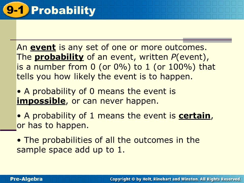 Pre-Algebra 9-1 Probability Warm Up Write each fraction in ...