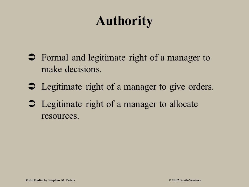 MultiMedia by Stephen M. Peters© 2002 South-Western Authority  Formal and legitimate right of a manager to make decisions.  Legitimate right of a ma