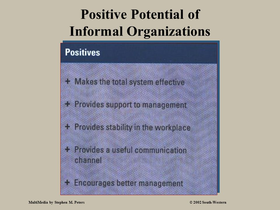 MultiMedia by Stephen M. Peters© 2002 South-Western Positive Potential of Informal Organizations