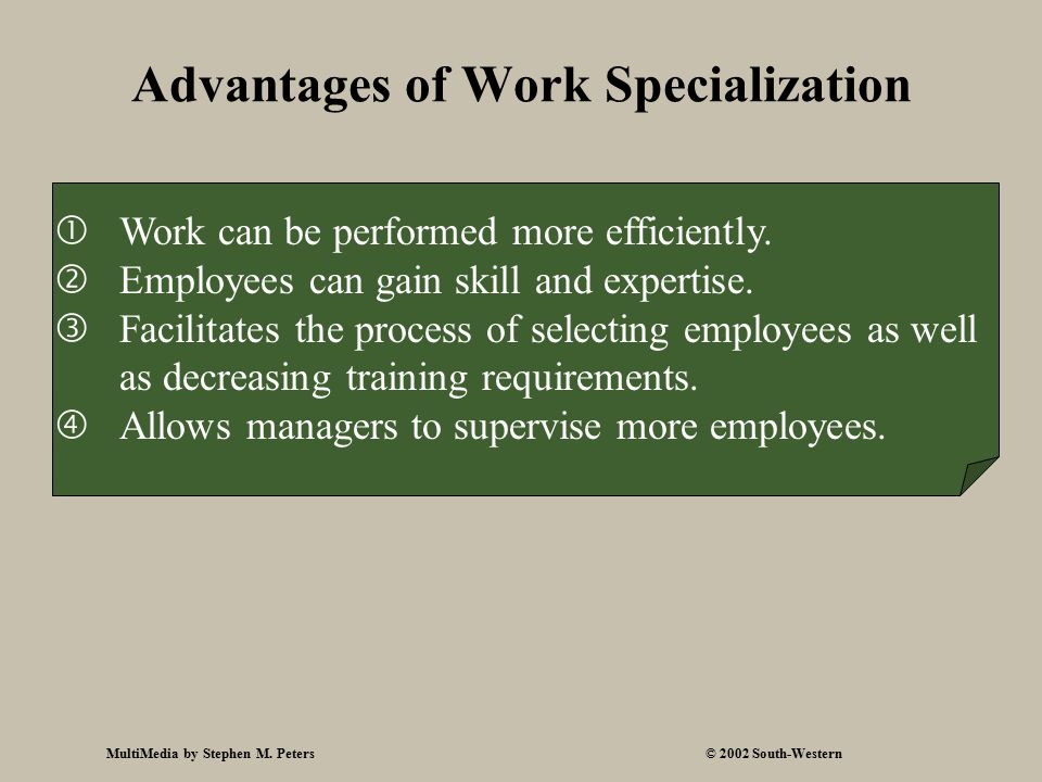 MultiMedia by Stephen M. Peters© 2002 South-Western Advantages of Work Specialization  Work can be performed more efficiently.  Employees can gain s