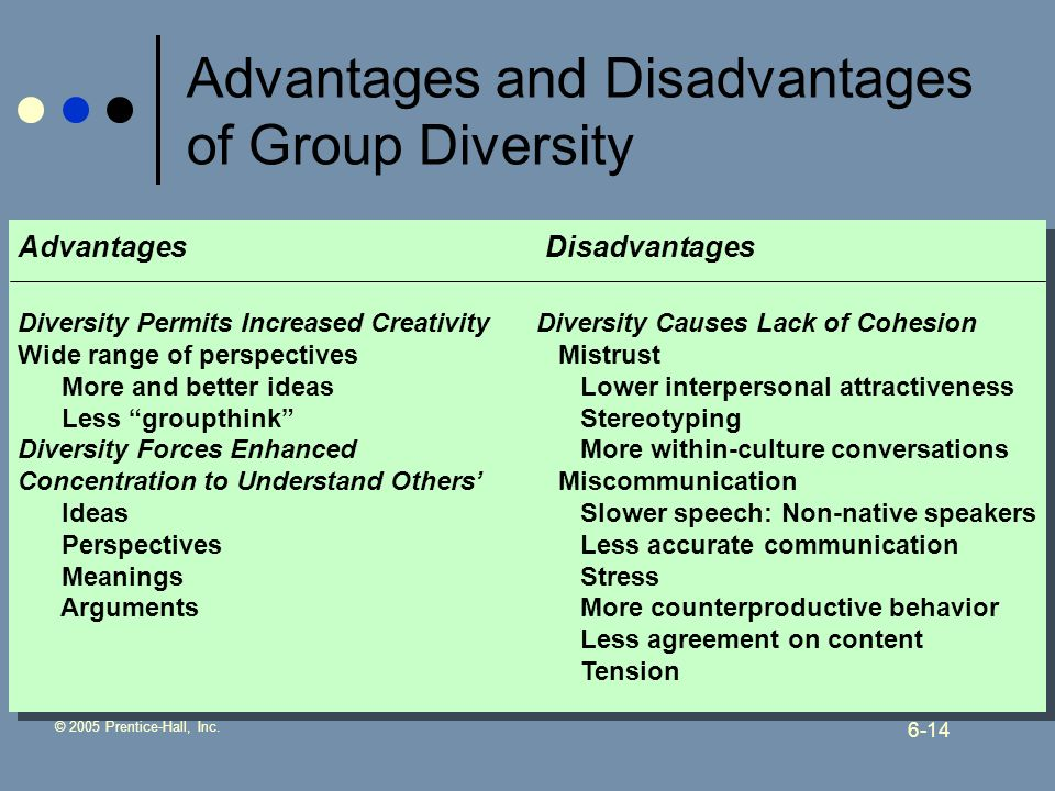 © 2005 Prentice-Hall, Inc. 6-14 Advantages and Disadvantages of Group Diversity AdvantagesDisadvantages Diversity Permits Increased Creativity Wide ra