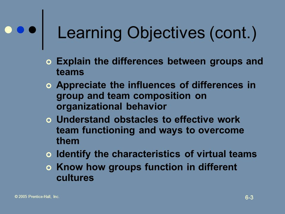 © 2005 Prentice-Hall, Inc. 6-3 Learning Objectives (cont.) Explain the differences between groups and teams Appreciate the influences of differences i