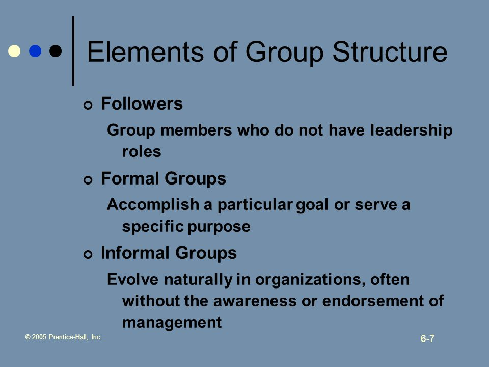 © 2005 Prentice-Hall, Inc. 6-7 Elements of Group Structure Followers Group members who do not have leadership roles Formal Groups Accomplish a particu