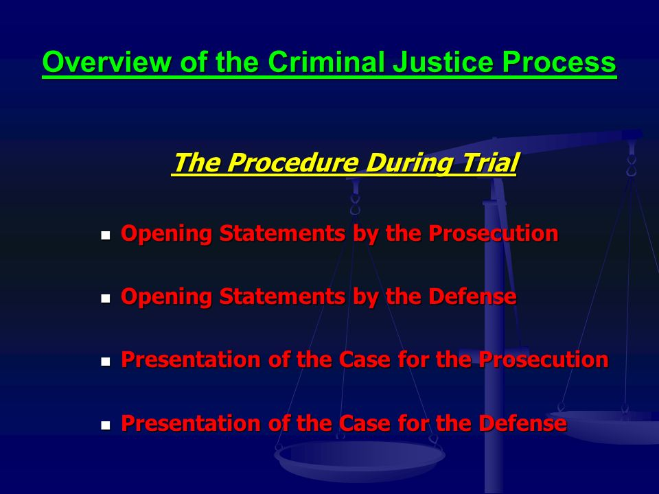 Overview of the Criminal Justice Process The Procedure During Trial Opening Statements by the Prosecution Opening Statements by the Prosecution Opening Statements by the Defense Opening Statements by the Defense Presentation of the Case for the Prosecution Presentation of the Case for the Prosecution Presentation of the Case for the Defense Presentation of the Case for the Defense