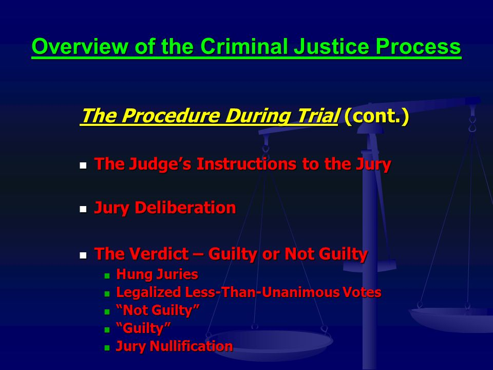 Overview of the Criminal Justice Process The Procedure During Trial (cont.) The Judge's Instructions to the Jury The Judge's Instructions to the Jury Jury Deliberation Jury Deliberation The Verdict – Guilty or Not Guilty The Verdict – Guilty or Not Guilty Hung Juries Hung Juries Legalized Less-Than-Unanimous Votes Legalized Less-Than-Unanimous Votes Not Guilty Not Guilty Guilty Guilty Jury Nullification Jury Nullification