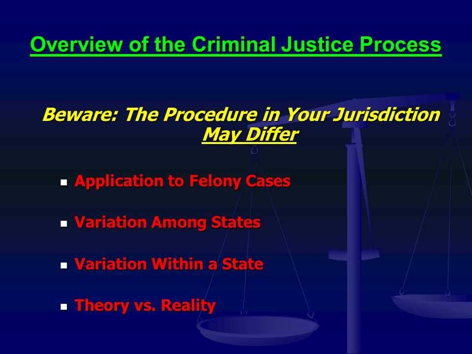 Overview of the Criminal Justice Process Beware: The Procedure in Your Jurisdiction May Differ Application to Felony Cases Application to Felony Cases Variation Among States Variation Among States Variation Within a State Variation Within a State Theory vs.