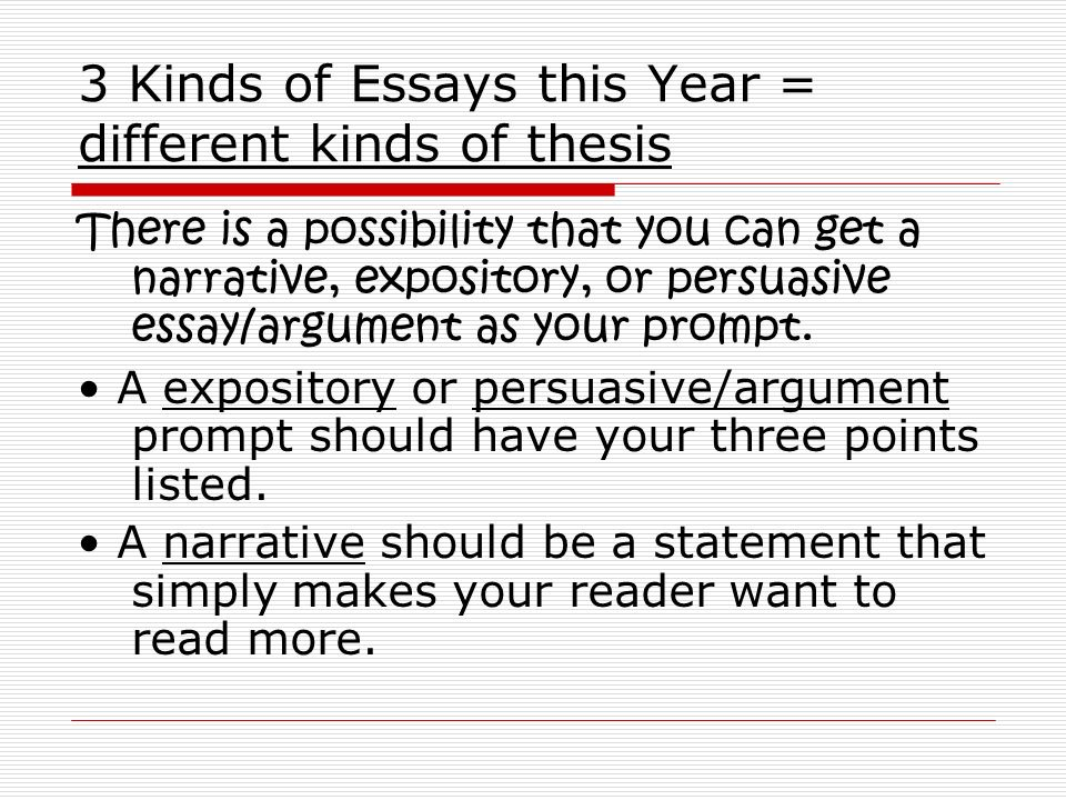 different kind of essay modes The four basic essay types are expository, descriptive, narrative, and persuasive you can learn more about essays with this article summarizing the four different types  there are a number of helpful article on essays so be sure to check them out if you need help with your essay.